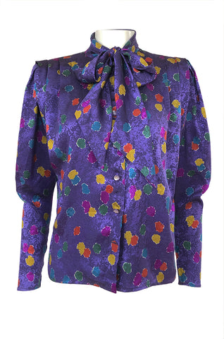 1980s Emanuel Ungaro Unusual Sleeve Purple Print Silk Top w Tie