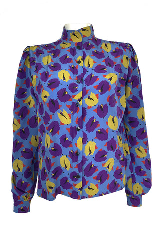 1980s Emanual Ungaro Bright Purple & Blue Printed Silk Top