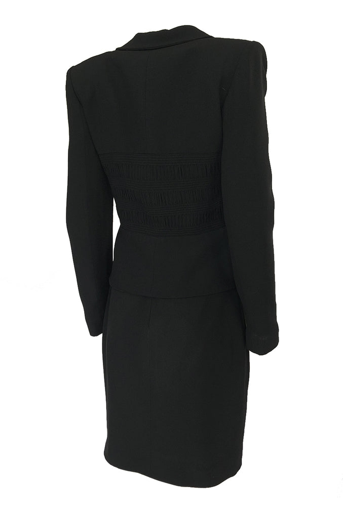 1990s Christian Dior Chic Black Jacket & Skirt Suit w Waist Detailing