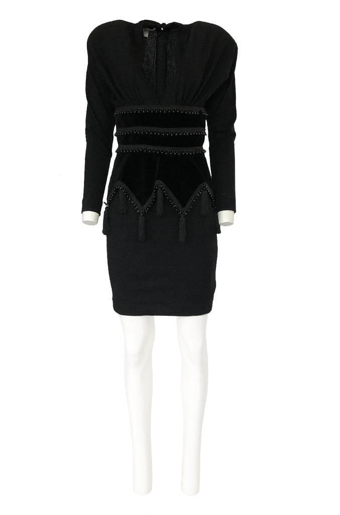 1980s Isabel Allard Paris Plunge Dress w Velvet and Huge Tassel Detail