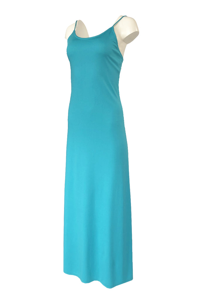 1970s Victor Costa Turquoise Wash & Wear Jersey Tank Dress
