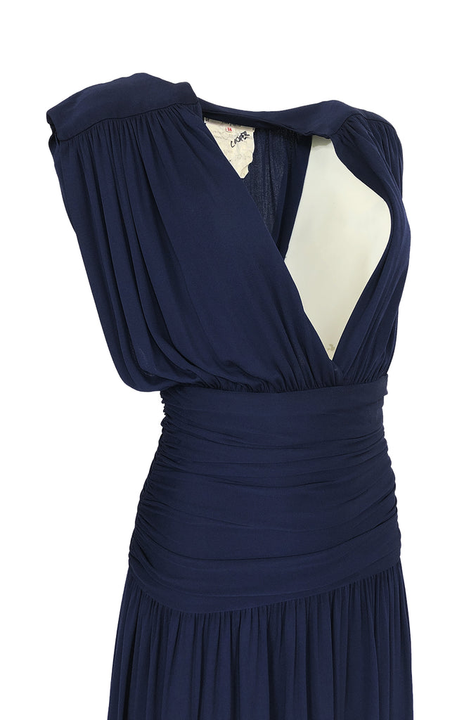 c1991 Yves Saint Laurent Deep Plunge Front Blue Draped Silk Jersey Dress