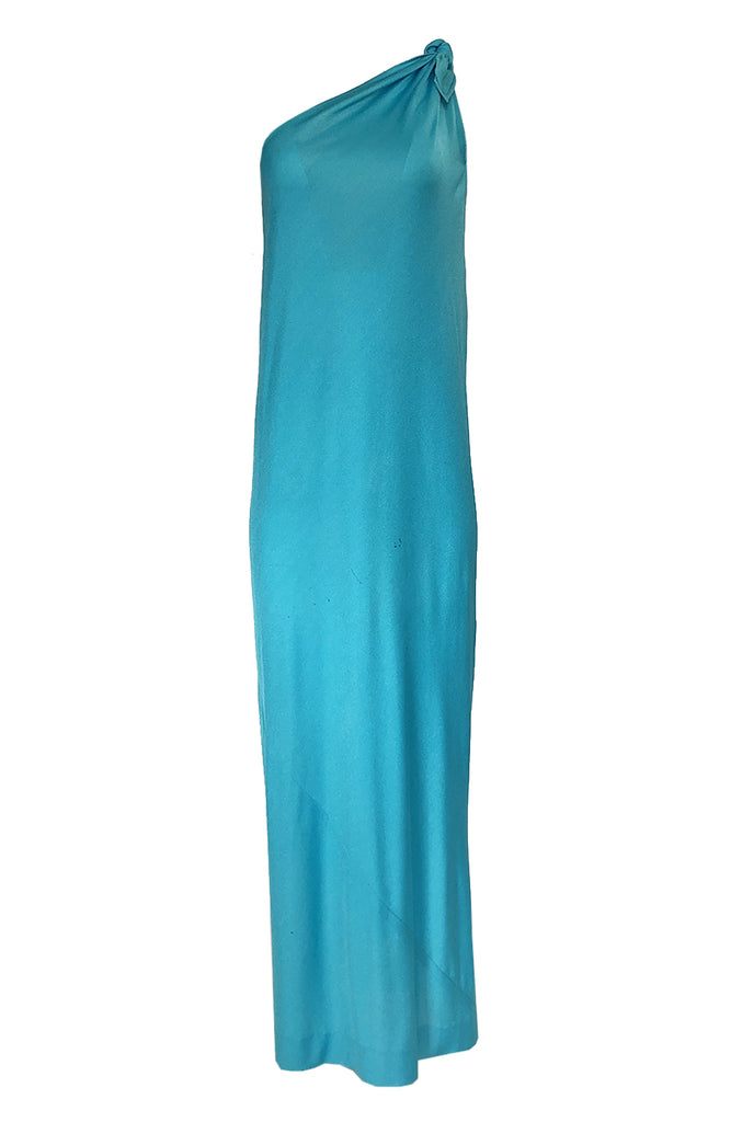1970s Halston Vivid Turquoise Color One Shoulder Jersey Dress