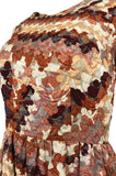 1967 Unlabeled Geoffrey Beene Silk Pink & Taupe Metallic Brocade Dress