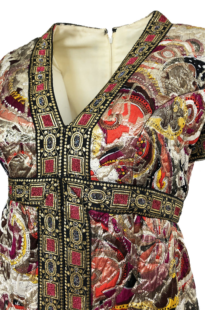 1960s Unlabeled Quilted Metallic Dress w a Metallic 'Jewel' Banding Detail