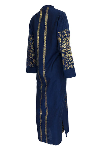 1960s Made in Greece Elaborate Metallic Gold Thread on Blue Caftan Dress