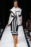 Spring 2015 Balmain Graphic Black and White Denim Mini Skirt