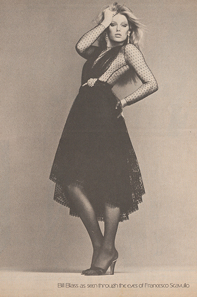 Documented 1978 Bill Blass Couture Black Silk Swiss Dot Net Dress