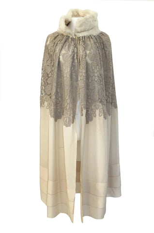 1920s Vogue Company Netted Chenille Lace on Ivory Silk Flapper Cape