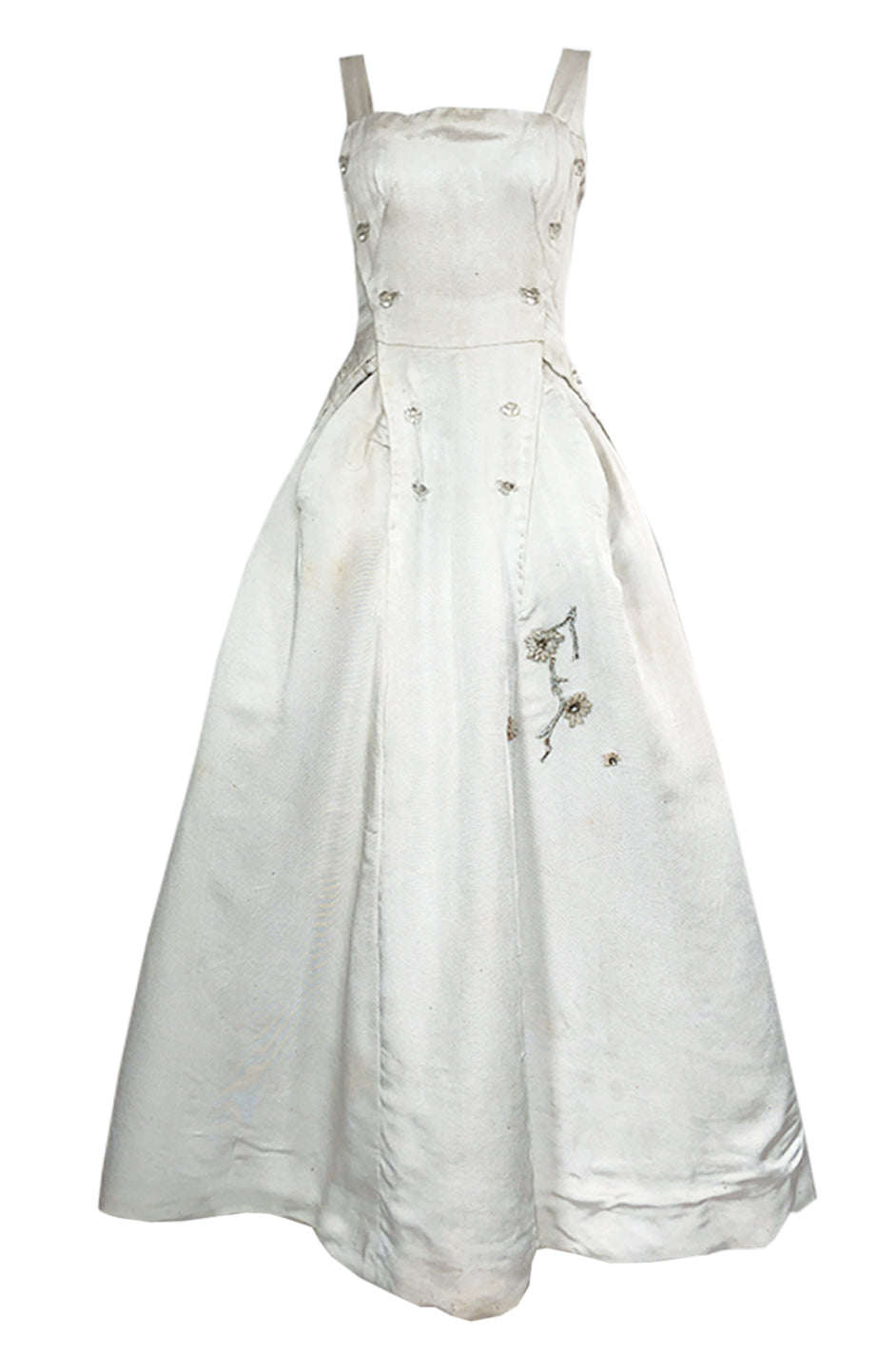 21dde1f4d4a Fall 1952 Christian Dior Haute Couture Ivory Silk Button Dress w Underskirts