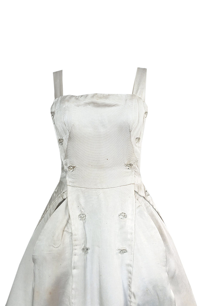 Fall 1952 Christian Dior Haute Couture Ivory Silk Button Dress w Underskirts