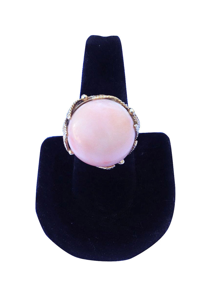1960s Angel Skin Coral 14K Cocktail Ring