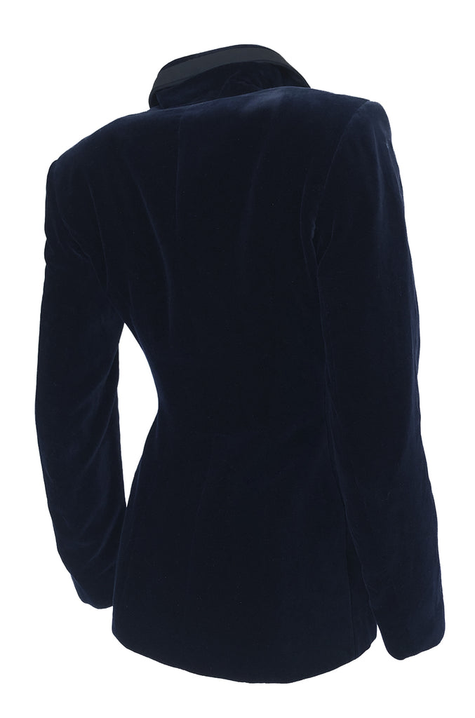 Rare Fall 1989 Azzedine Alaia Blue Velvet Runway Jacket w Black Trim