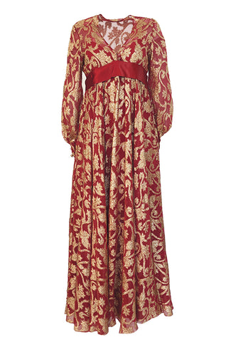 1960s Christian Dior By Marc Bohan Red & Gold Lamé Metallic Dress