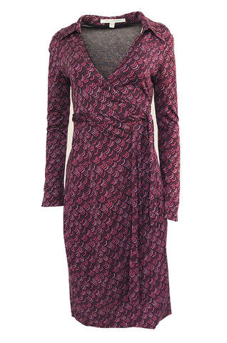 Early 2000s Diane von Furstenburg Purple Print Silk Jersey Wrap Dress
