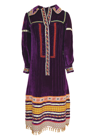 1968 Giorgio Sant'Angelo Purple Applique Velvet Dress w Wood Bead Fringe