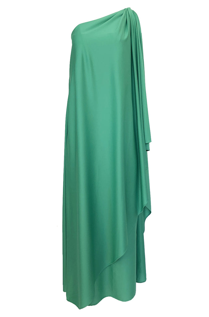1978 Halston Green One Shoulder Draped Jersey Maxi Dress