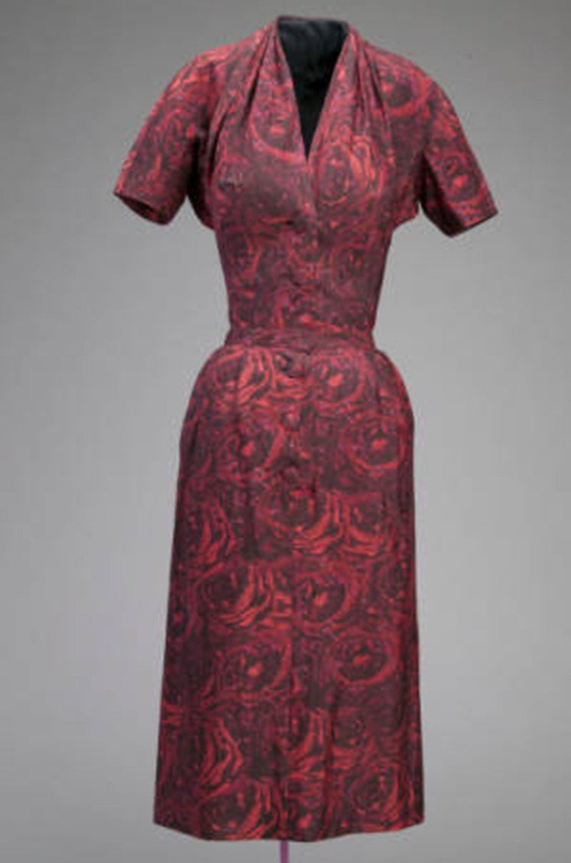 1954-1956 Christian Dior London Demi-Couture Printed Silk Coat & Dress Set