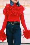 1980s Guy LaRoche Dramatic Feather Sweater