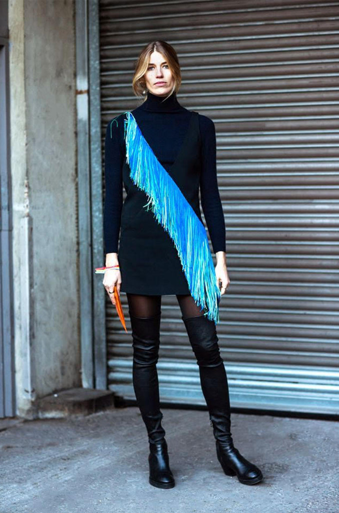 Spring 2016 Christopher Kane Runway Blue Fringe on Black Mini Dress