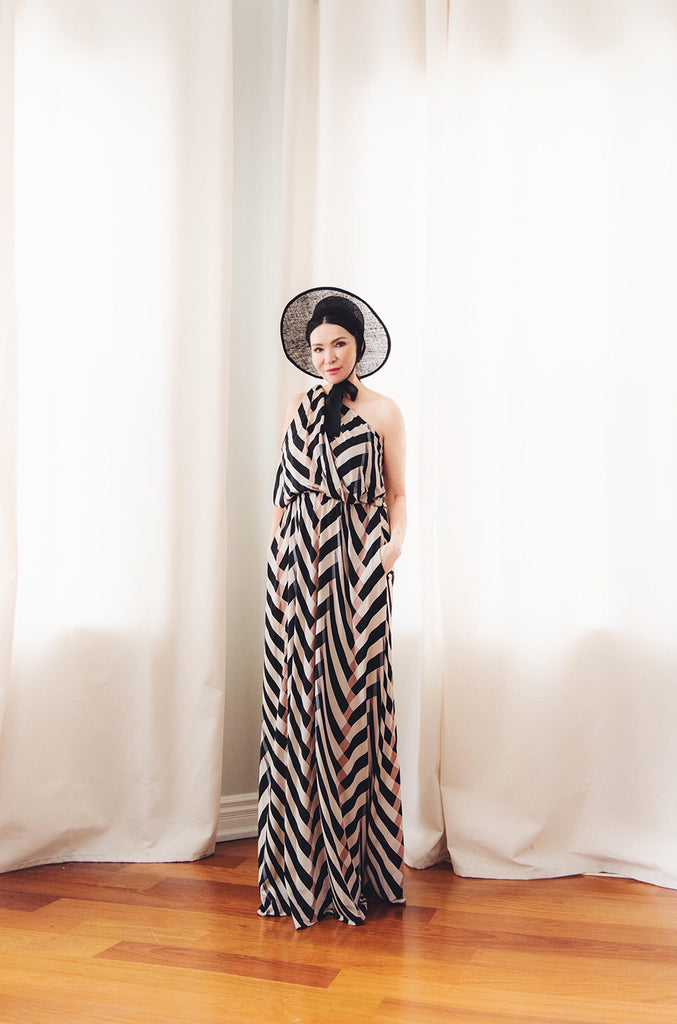 Spring 2015 Alber Elbaz for Lanvin One Shoulder Chevron Striped Jersey Dress