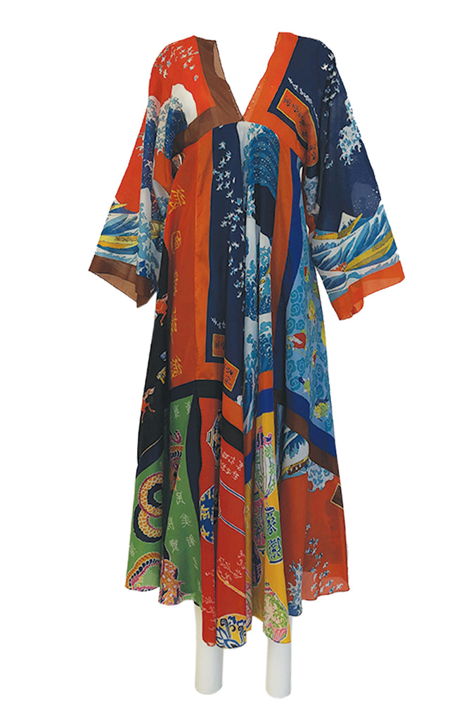 c.1972 LaVetta Plunging Front and Back Silk Scarf Print Caftan Dress