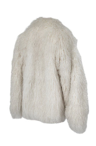 Original 1970s Fluffy Cream Ivory w Pink Undertones Mongolian Sheepskin Jacket