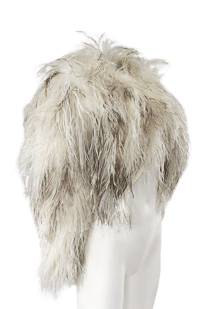Original 1970s Unlabeled Fluffy Ostrich Feather Crop Jacket