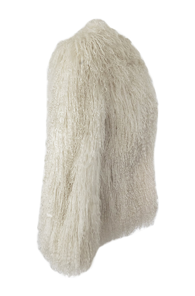Original 1970s Fluffy Shaggy Cream Ivory Mongolian Sheepskin Jacket