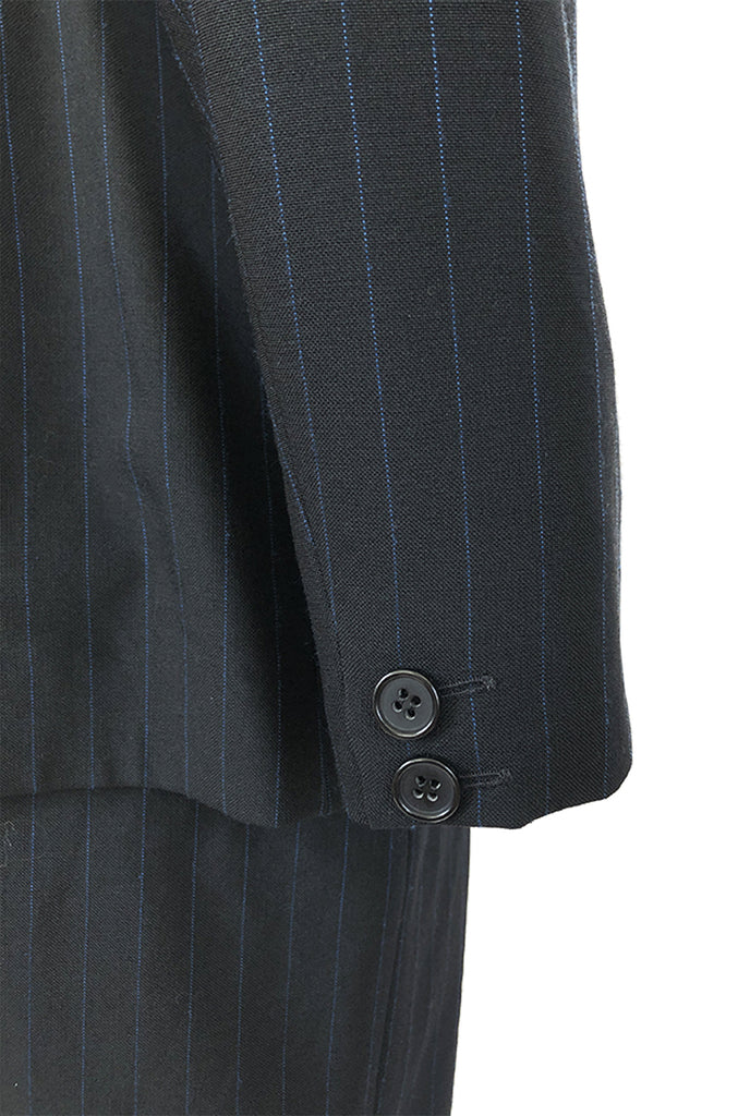 Spring 1998 Alexander McQueen 'Untitled' Collection Blue Detailed Pinstripe Suit