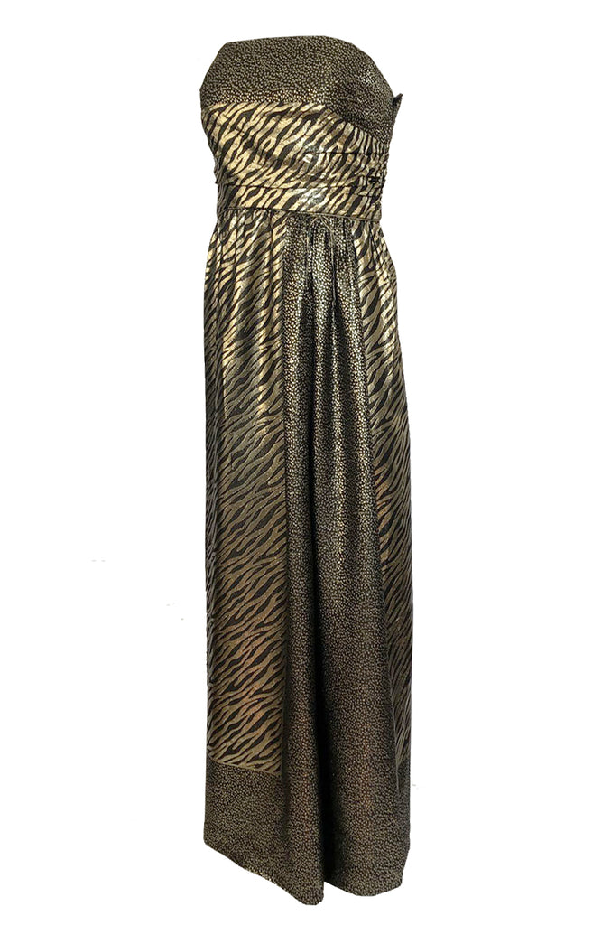 1970s Pauline Trigere Strapless Gold & Black Lame Dress w Huge Shawl