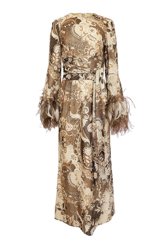 1970s Bill Blass Couture Metallic Gold Lurex Knit Dress w Feather Cuffs