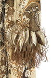 c.1976 Bill Blass Couture Metallic Gold Lurex Knit Dress w Feather Cuffs