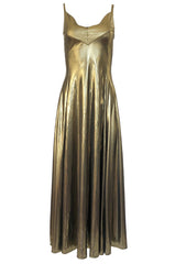 1980s Nina Ricci Liquid Gold Stretch Lame Jersey Dance Dress