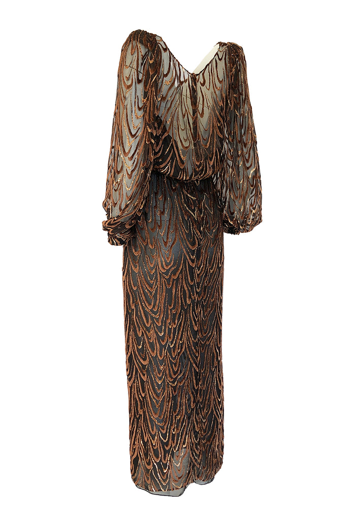 1980s Oscar de la Renta Copper & Metallic Fused Velvet & Silk Chiffon Dress