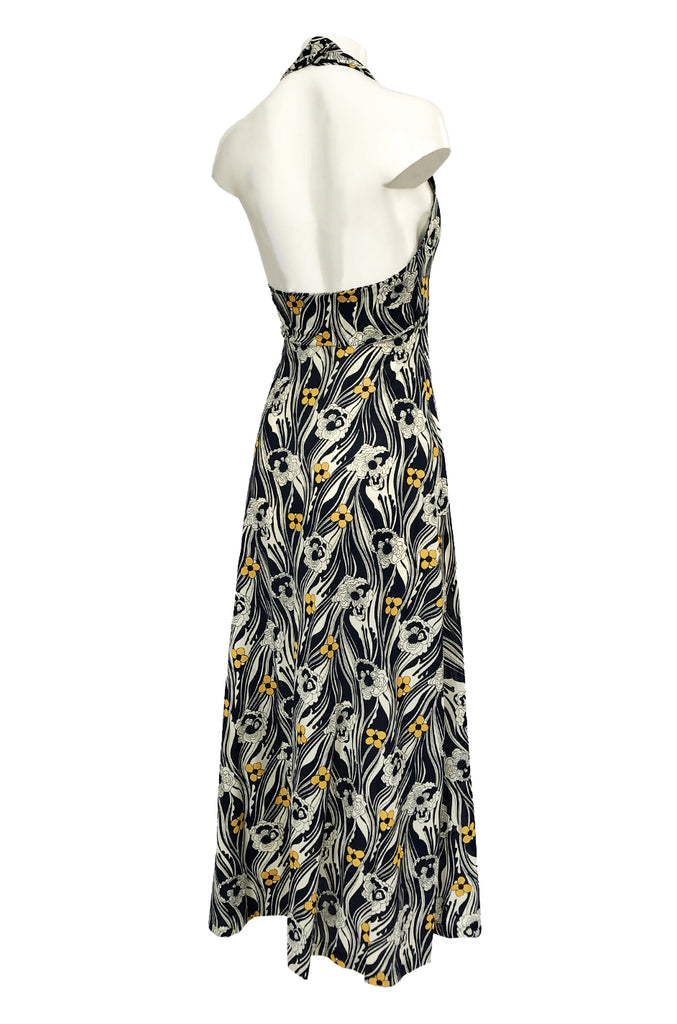 1970s Miss Dior Floral Printed Nylon Jersey Halter Neck Dress