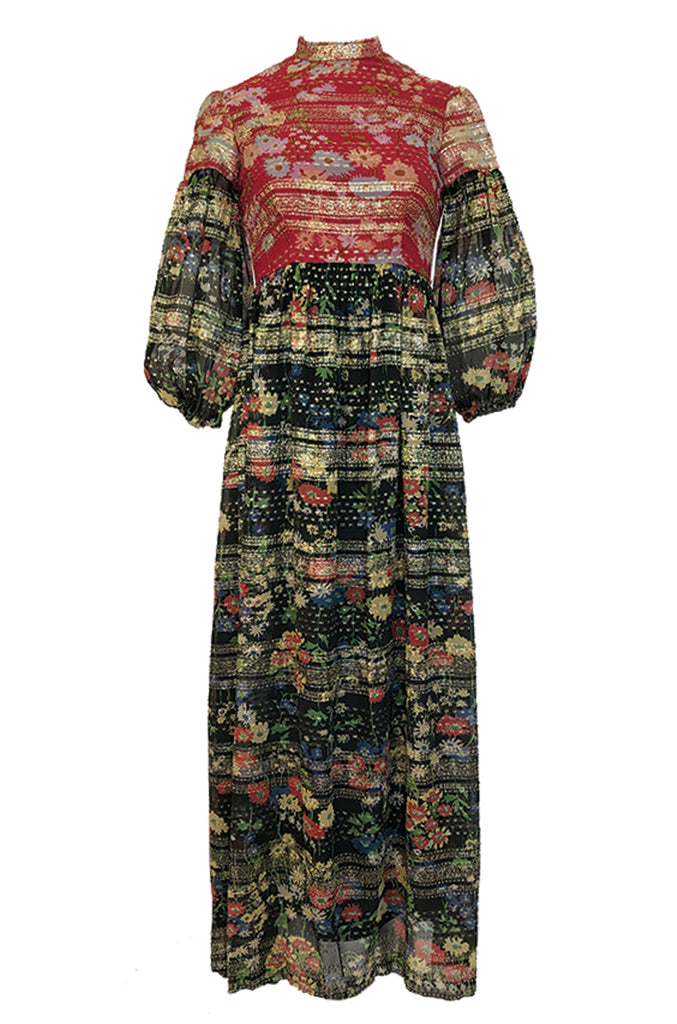 1960s Mollie Parnis Red & Black Floral Print Silk w Gold Metallic Dress
