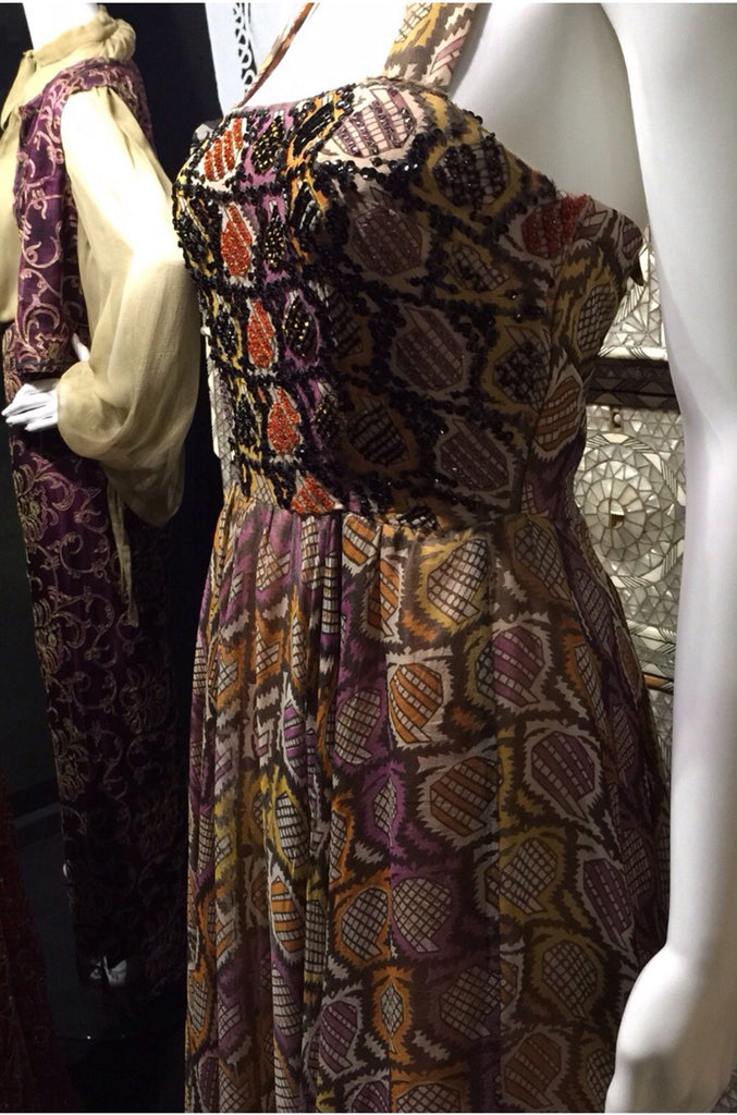 Museum Exhibited 1970 Thea Porter Couture Dress in Silk & Beads