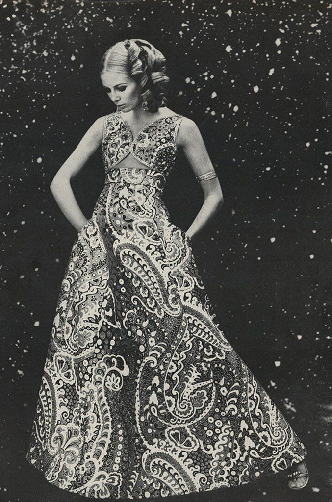 1968 Malcolm Starr Ad Campaign Silk Dress w Front Cut Out, Sequins & Beads