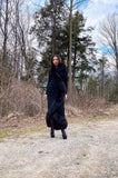 1971 Pauline Trigere Museum Held Black Jersey & Fox Fur Coat or Dress