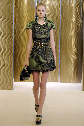 Resort 2009 Prada Shift Dress With Chain Insets