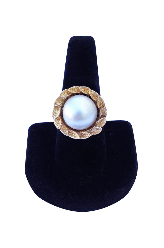 1960s Mabe Pearl 14K Gold Cocktail Ring