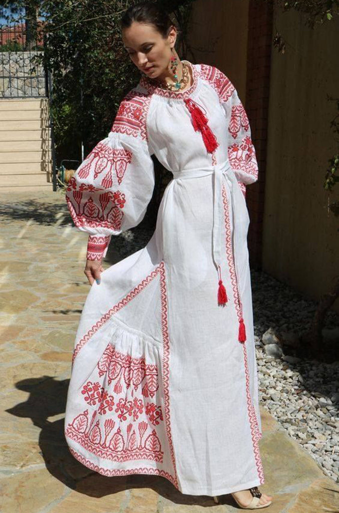 2017 Vita Kin White Linen Vyshyvanka  Red Embroidered Dress