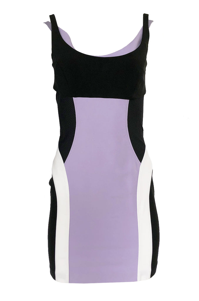Recent Versace Purple Curved Panel w Netted Sides Stretch Bandage Dress