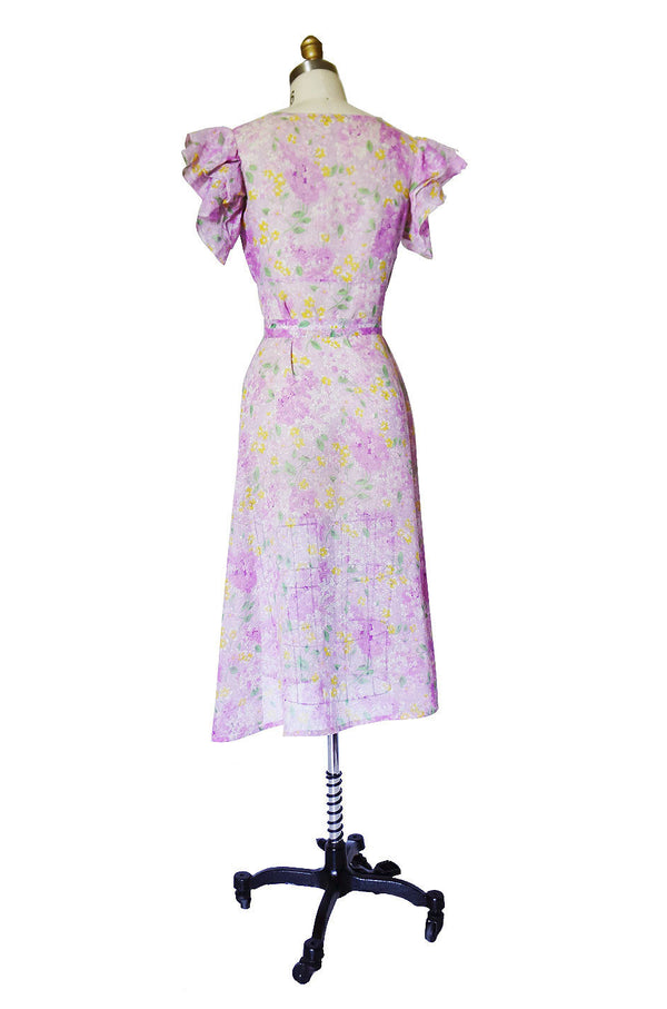 1920s Fine Cotton Crisp Voile Print Dress
