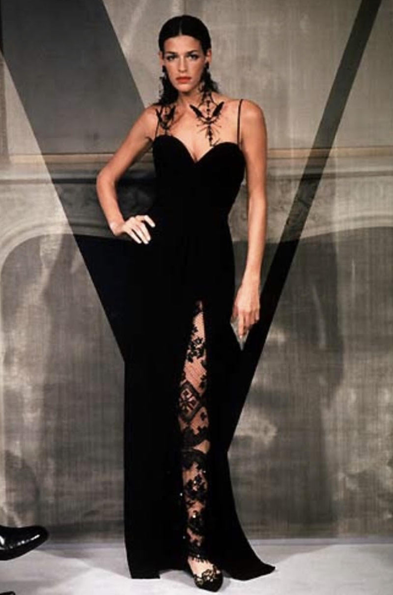 Spring 1998 Valentino Haute Couture Strapless Dress w Beaded & Sequin Inner Skirt
