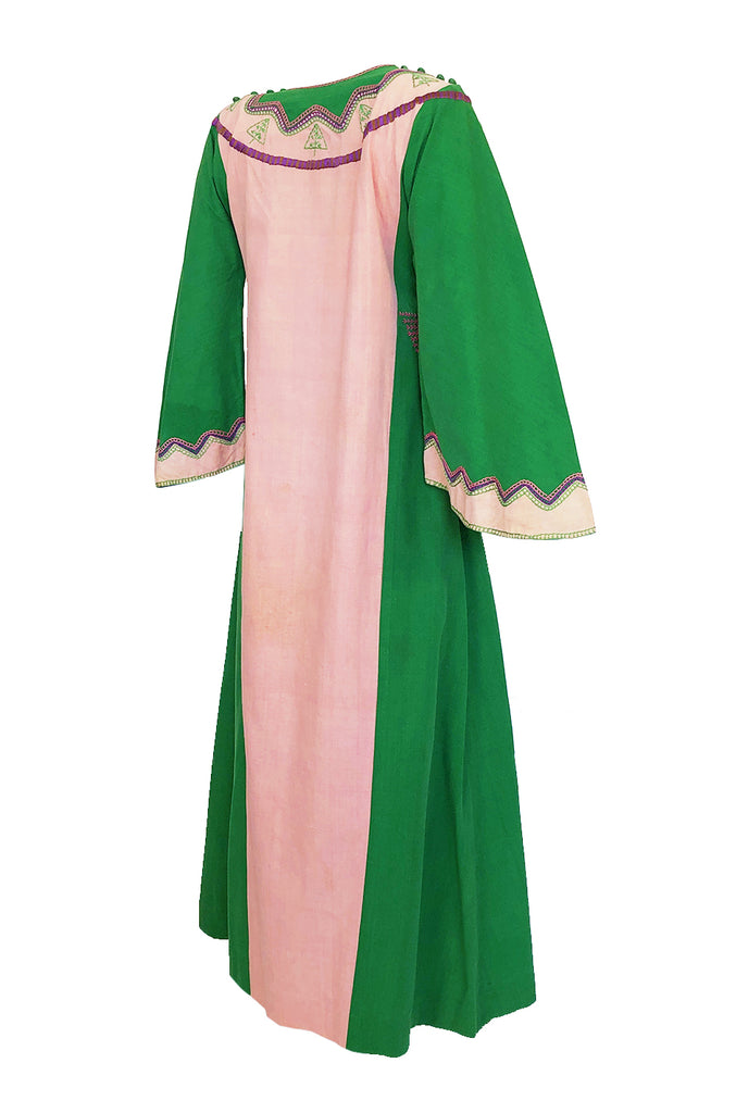 1960s Josefa Pink & Green Hand Embroidered Cotton Caftan Dress