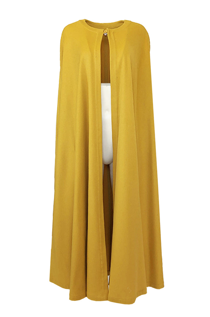 Late 1970s Yves Saint Laurent Deep Yellow Full Length Wool Cape