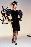 c.1982 Yves Saint Laurent Dramatic Sleeve Silk Taffeta & Velvet Jacket