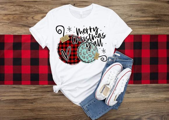 Buffalo Plaid & Leopard Ornaments Merry Christmas Yall Christmas Shirt